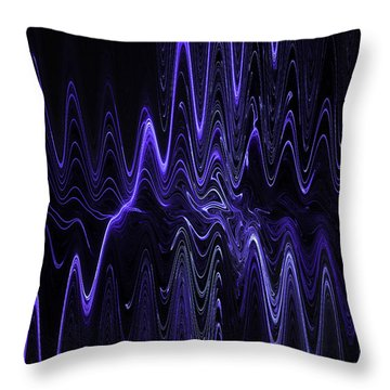 Abstract Digital Blue Waves Fractal Image Black Computer Art Throw Pillow