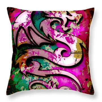 Abstract Dragon Throw Pillow by David G Paul