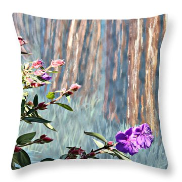 Throw Pillow featuring the photograph Abstract Floral by Jo Sheehan