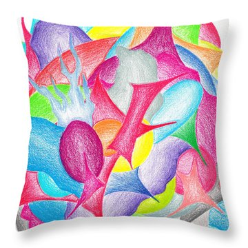 Abstract Flower Throw Pillow by Jera Sky