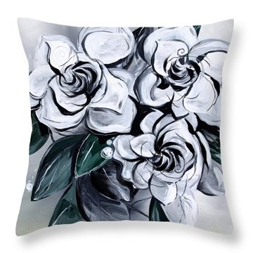 Abstract Gardenias Throw Pillow