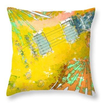 Abstract Guitar Throw Pillow by David G Paul