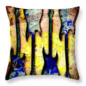 Abstract Guitars Throw Pillow by David G Paul