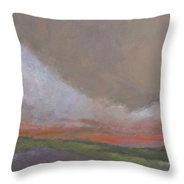 Abstract Landscape - Scarlet Light Throw Pillow by Kathleen Grace