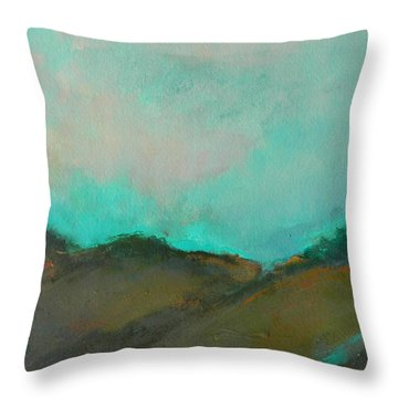Abstract Landscape - Turquoise Sky Throw Pillow by Kathleen Grace