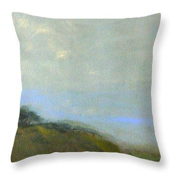 Abstract Landscape - Green Hillside Throw Pillow