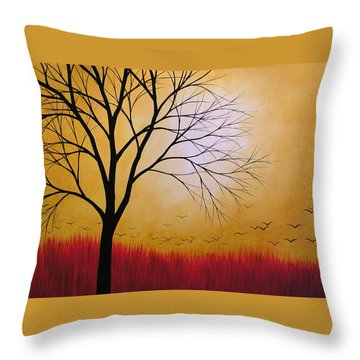 Abstract Original Tree Painting Summers Anticipation By Amy Giacomelli Throw Pillow