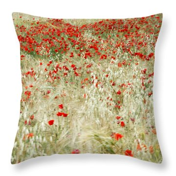 Abstract Poppies Throw Pillow by Guido Montanes Castillo