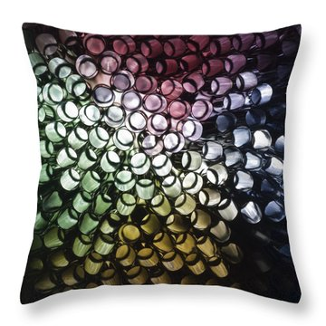 Throw Pillow featuring the photograph Abstract Straws by Steve Purnell