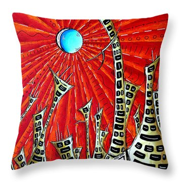 Abstract Surreal Art Original Cityscape Painting The Eternal City By Madart Throw Pillow by Megan Duncanson