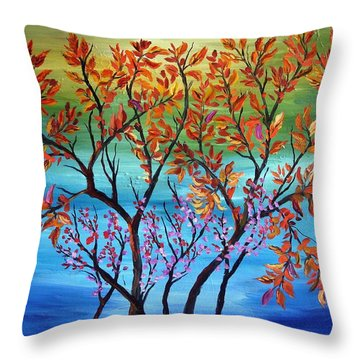 Abstract Tree Series #37 Throw Pillow by Mary Jo Zorad