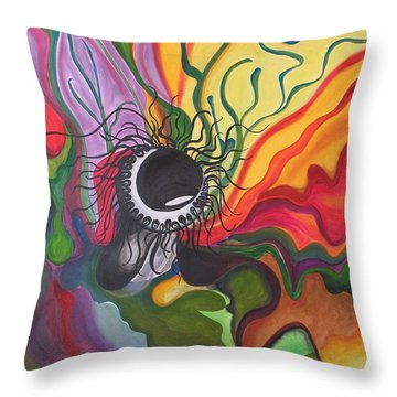 Abstract Underwater Anemone Throw Pillow