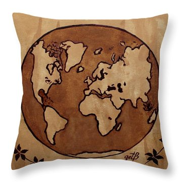Abstract World Globe Map Coffee Painting Throw Pillow
