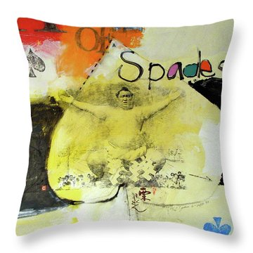 Throw Pillow featuring the mixed media Ace Of Spades 25-52 by Cliff Spohn