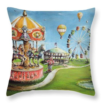Throw Pillow featuring the painting Carnival by Bernadette Krupa