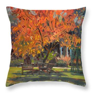 Throw Pillow featuring the painting Adirondack Chairs by Donald Maier