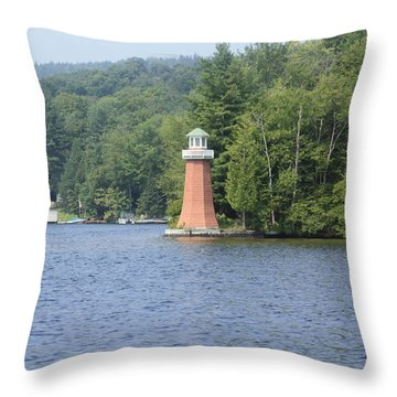 Adirondack Lighthouse Throw Pillow by Ann Murphy