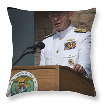 Admiral Mike Mullen Speaks Throw Pillow by Michael Wood