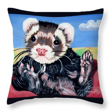Adorable Ferret Throw Pillow by Phyllis Kaltenbach