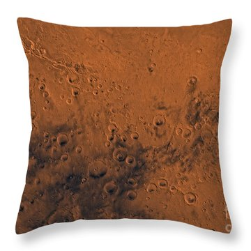 Aeolis Region Of Mars Throw Pillow by Stocktrek Images