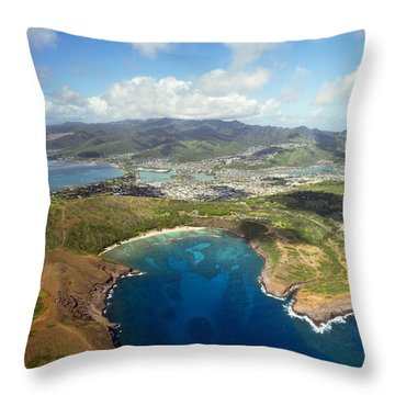 Aerial Of Hanauma Bay Throw Pillow by Ron Dahlquist - Printscapes