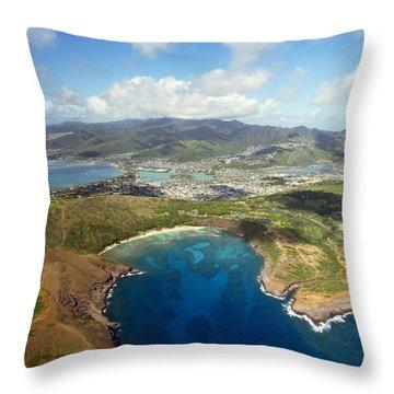 Aerial Of Hanauma Bay Throw Pillow by Ron Dahlquist - Printscapes