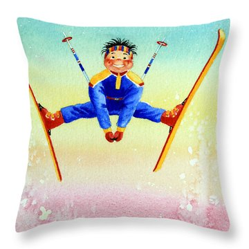 Aerial Skier 17 Throw Pillow by Hanne Lore Koehler