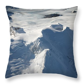 Aerial View Of Glaciated Mount Douglas Throw Pillow by Richard Roscoe