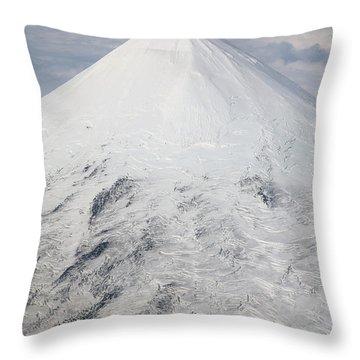 Aerial View Of Glaciated Shishaldin Throw Pillow by Richard Roscoe