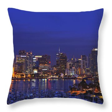 Aerial View Of San Diego Skyline With Throw Pillow by Stuart Westmorland