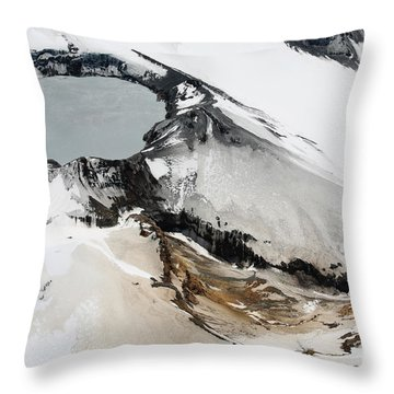 Aerial View Of Snow-covered Ruapehu Throw Pillow by Richard Roscoe