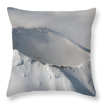 Aerial View Of Summit Of Shishaldin Throw Pillow by Richard Roscoe