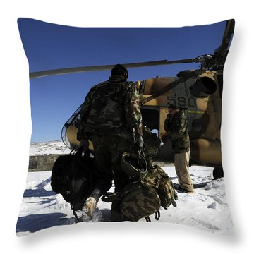 Afghan National Army Air Corps Members Throw Pillow