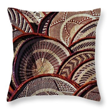 Throw Pillow featuring the photograph African Art Baskets by Werner Lehmann