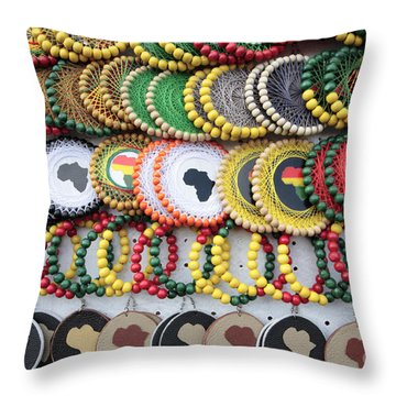 African Beaded Earrings Throw Pillow by Neil Overy