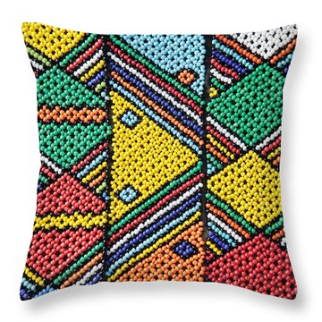 African Beadwork 1 Throw Pillow by Neil Overy