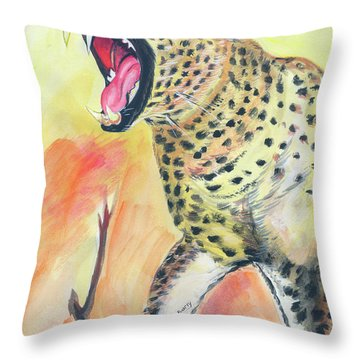African Leopard Throw Pillow by Emmanuel Baliyanga