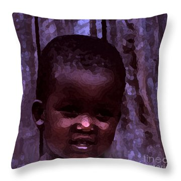 Throw Pillow featuring the pyrography African Little Girl by Lydia Holly