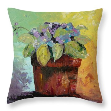 Throw Pillow featuring the painting African Violet by Carol Berning