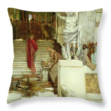 After The Audience Throw Pillow by Sir Lawrence Alma-Tadema