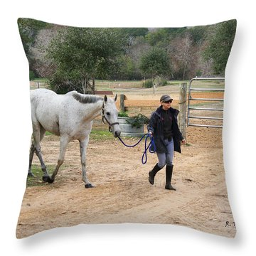 After The Day's Ride Throw Pillow by Roena King