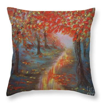 After The Rain In Autumn Throw Pillow