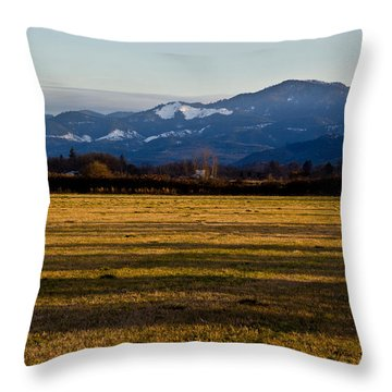 Afternoon Shadows Across A Rogue Valley Farm Throw Pillow by Mick Anderson