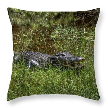 Aggressive Alligator Throw Pillow