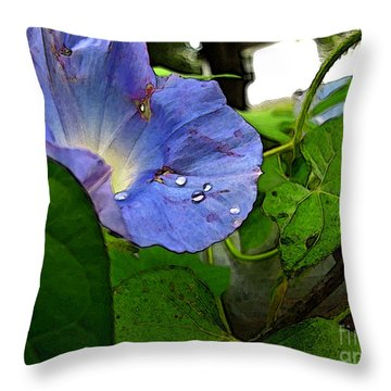 Throw Pillow featuring the digital art Aging Morning Glory by Debbie Portwood
