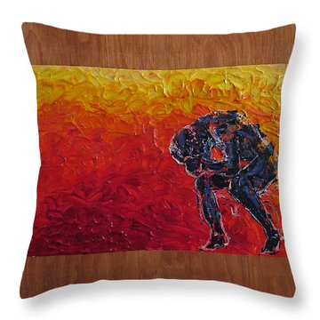 Throw Pillow featuring the painting Agony Doubled Over In Flames On Wood Panel by M Zimmerman