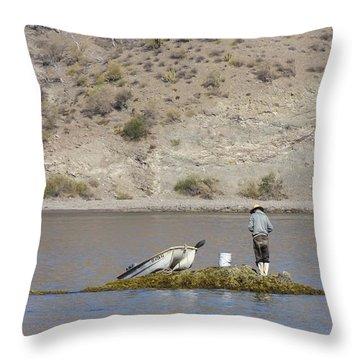 Throw Pillow featuring the digital art Agua Verde Fisherman  by Anne Mott