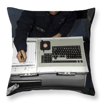 Air Traffic Controller Records Incoming Throw Pillow by Stocktrek Images