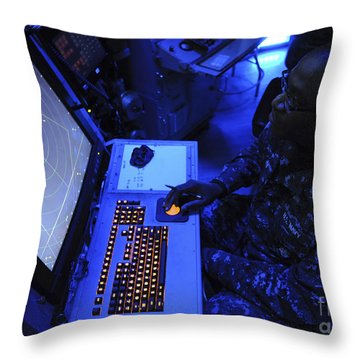 Air-traffic Controller Tracks Incoming Throw Pillow by Stocktrek Images