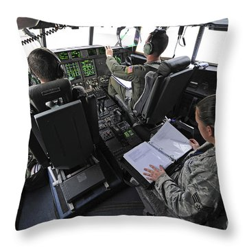 Aircrew Perform Preflight Checklists Throw Pillow by Stocktrek Images